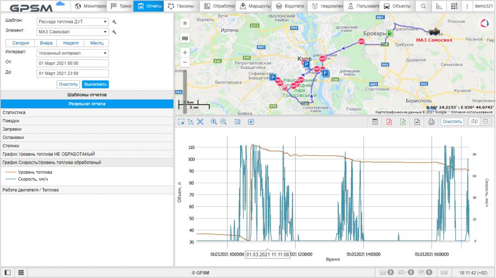 GPS мониторинг с контролем топлива на самосвал МАЗ изображение 16