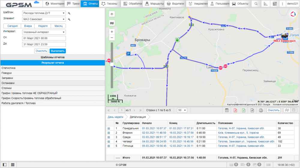 GPS мониторинг с контролем топлива на самосвал МАЗ изображение 12