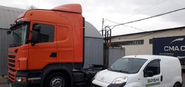 Система GPS мониторинга с двумя датчиками уровня топлива. Установка на седельный тягач SCANIA