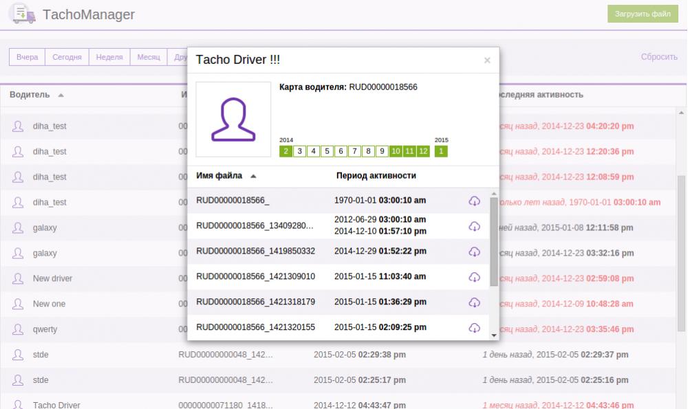 Tacho Manager ПО для подключения тахографа к системе мониторинга изображение 1